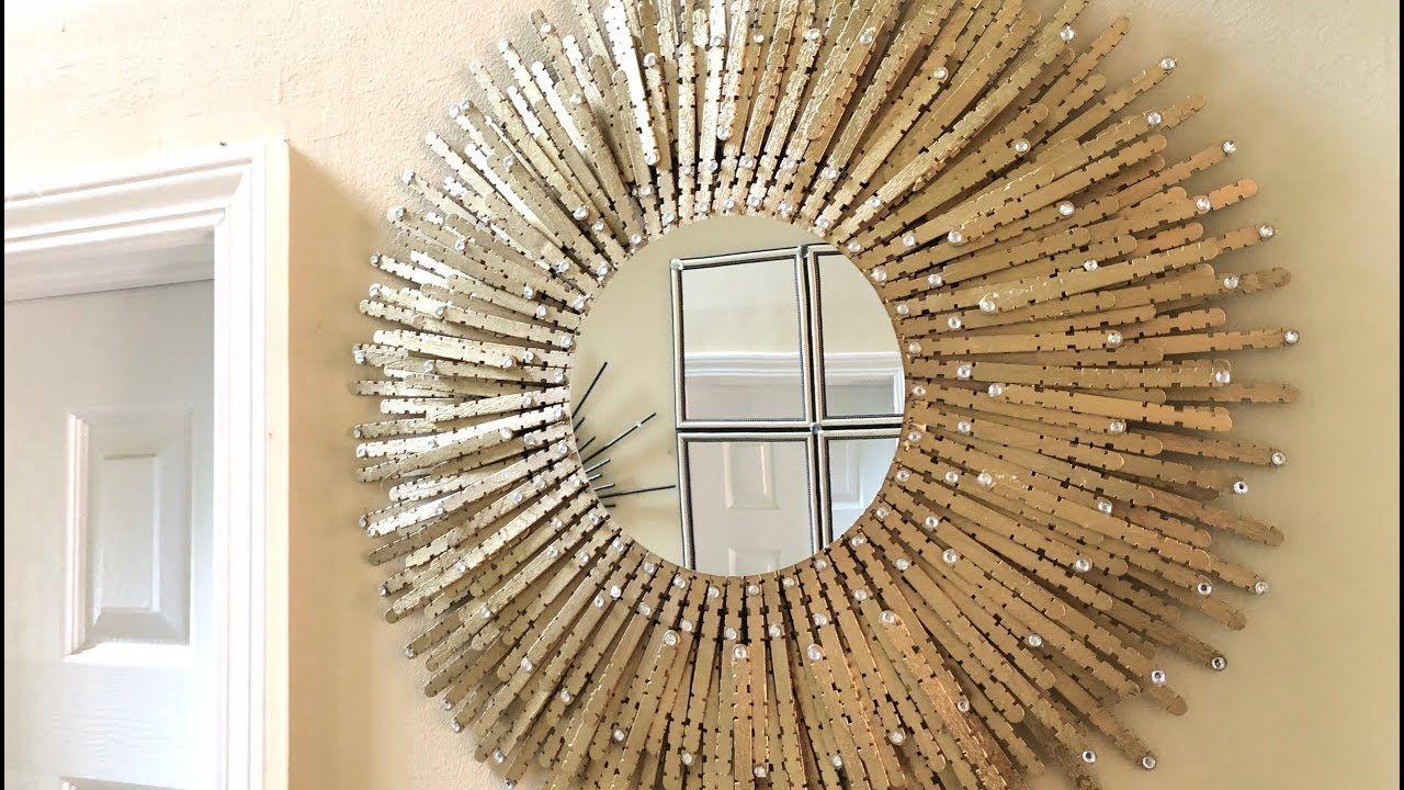 Dollar Tree Diy Gold Sunburst Wall Mirror Youtube Mirror Wall Wall Mirror Diy Mirror Gallery Wall