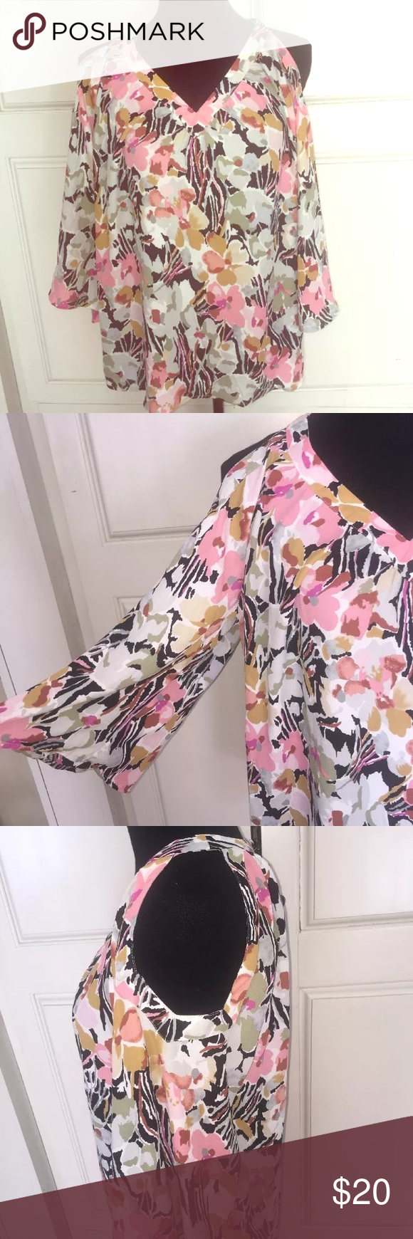 Rose & Thyme cold shoulder floral flutter sleeve Beautiful feminine modern top!  Striking cold shoulder with flutter bell sleeve.  Beautiful fabric. A true showstopper! Rose & Thyme Tops Blouses