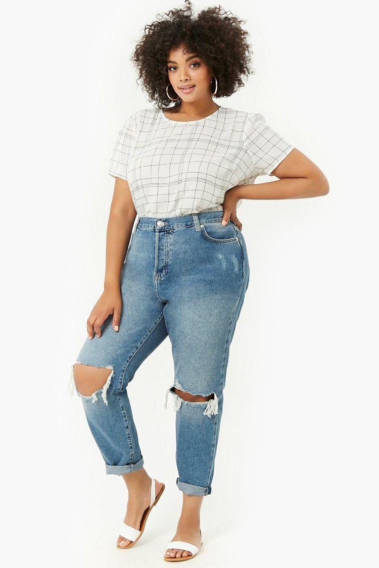 fdb9475bf8 Plus Size Distressed Mom Jeans