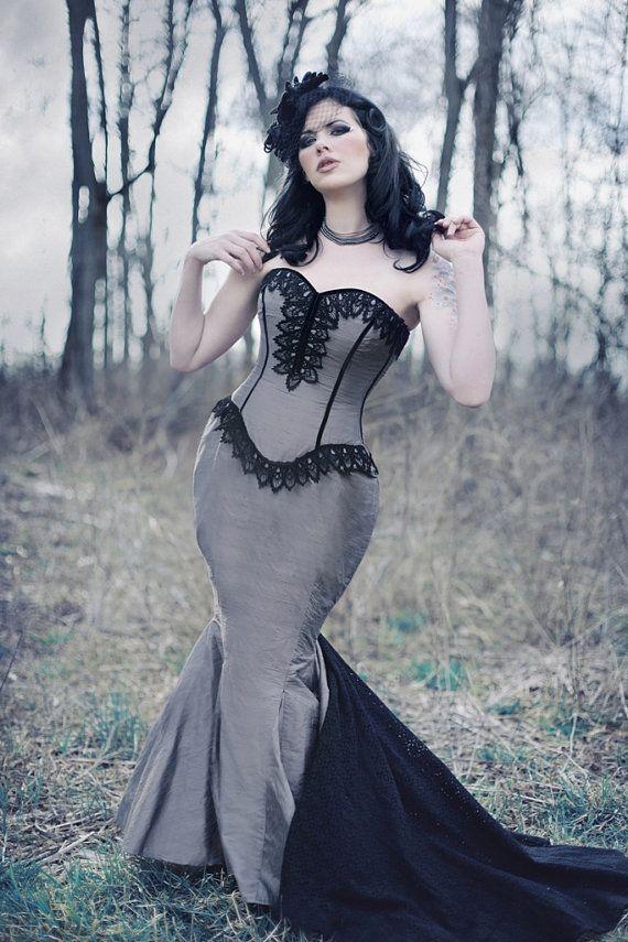 6546e2b237c88 Mermaid Wedding Dress Goth Bridal Gown Unique Gothic Corset Steampunk  Couture Dark Dance Custom to Order Petite to Plus Size