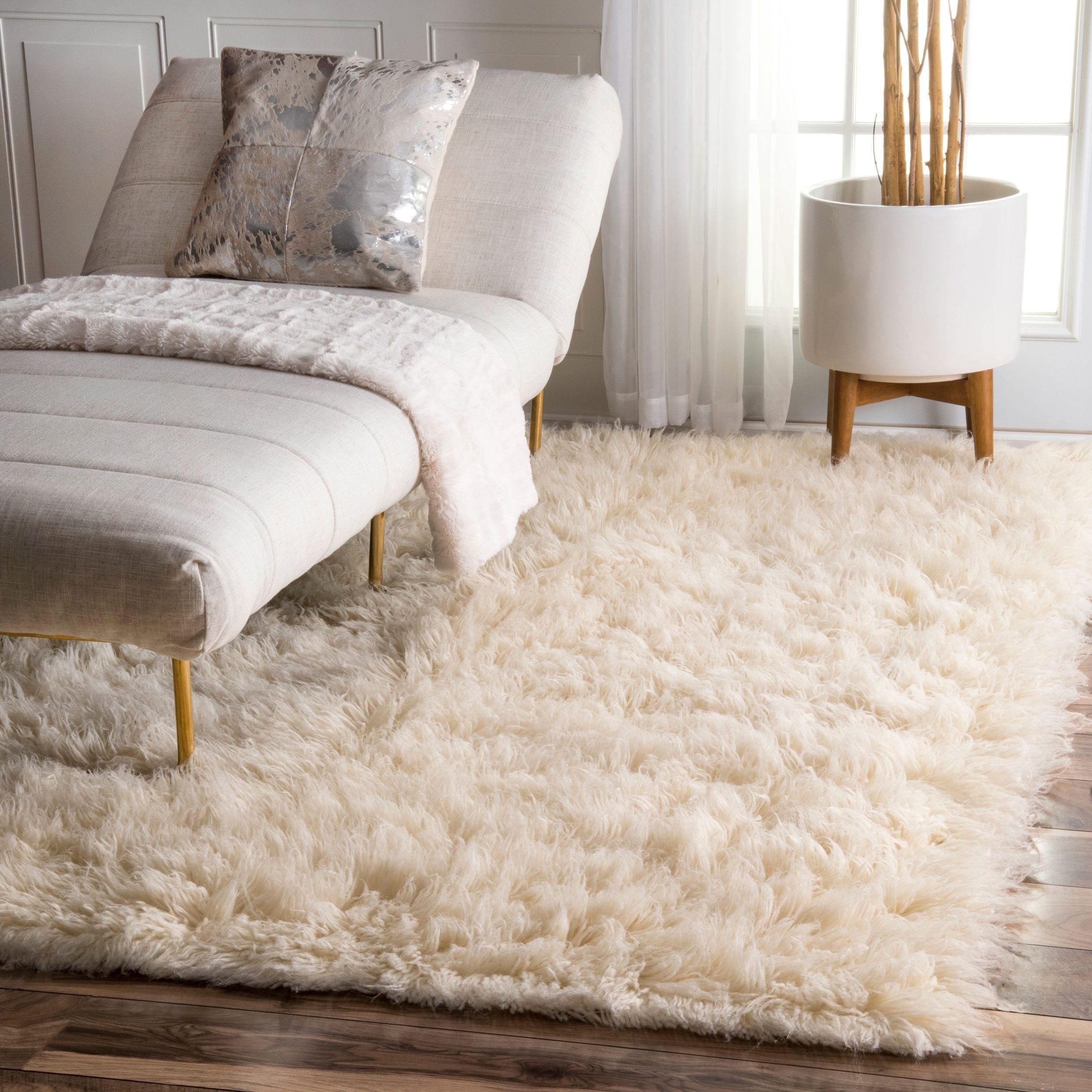nuLOOM Hand-woven Flokati Wool Shag Rug (3\' x 5\') (Natural), Size 3 ...