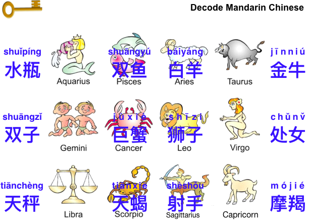 12 Zodiac Signs 十二星座 | Decoding, Learning and Adverbs