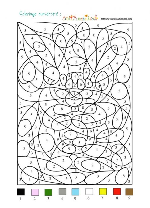 coloriage jeu de coloriage numrot chiffres et animal n1