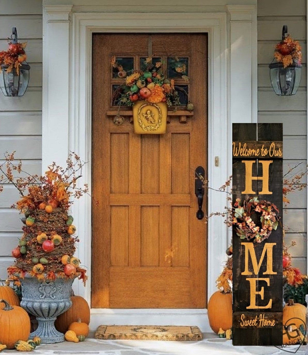 Fall Porch Sign HOME Welcome Sign 5' Reversible Option Wreath Personalized Hand Painted  Wood