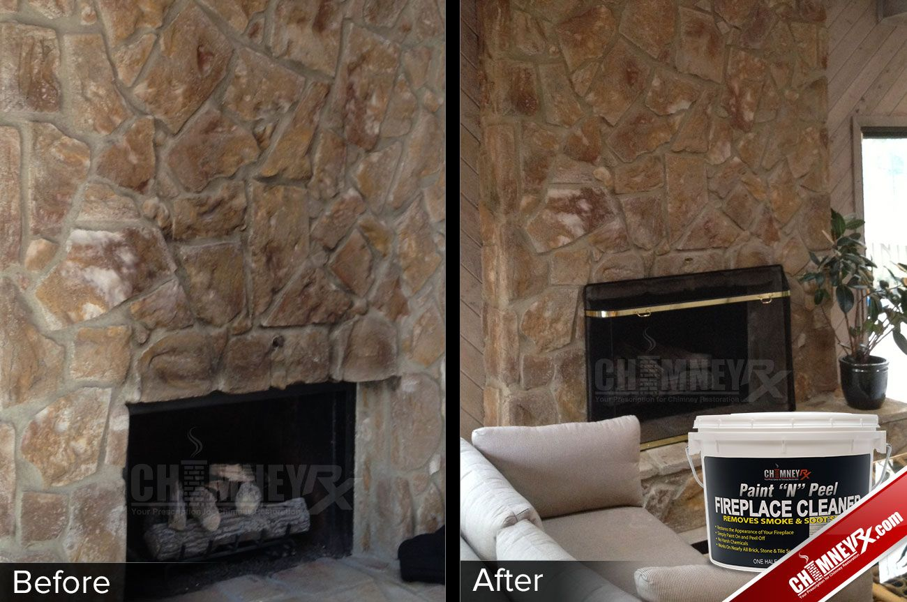 "Smoke stains on a large stone fireplace - before and after being cleaned with Paint ""N"" Peel Fireplace Cleaner"