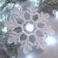 Adorn your Christmas tree, mantle, and wreath with fairy lights slipped over free standing lace snowflakes.
