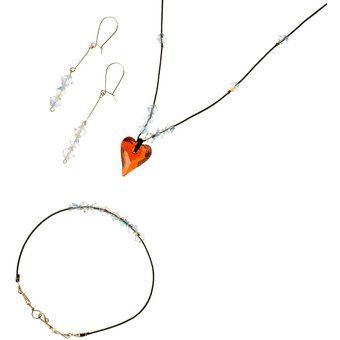ecb56663f470 Compra Conjunto Collar Pulsera Y Aretes Con Cristales Swarovski® En Piel  Negra Y Aleacion Con
