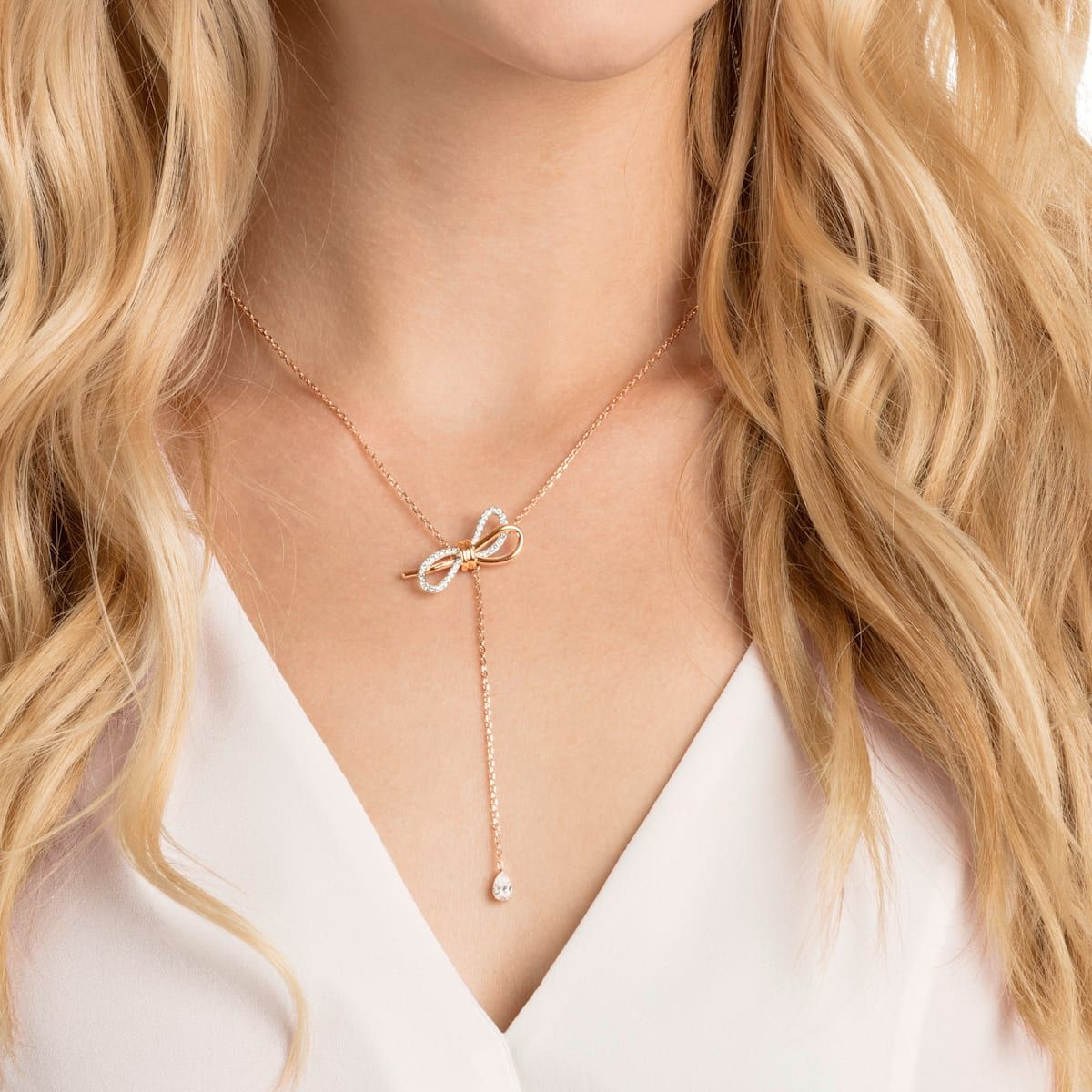 Mixed metal gold and rose gold mixed metal boho chain necklace with clear crystal details