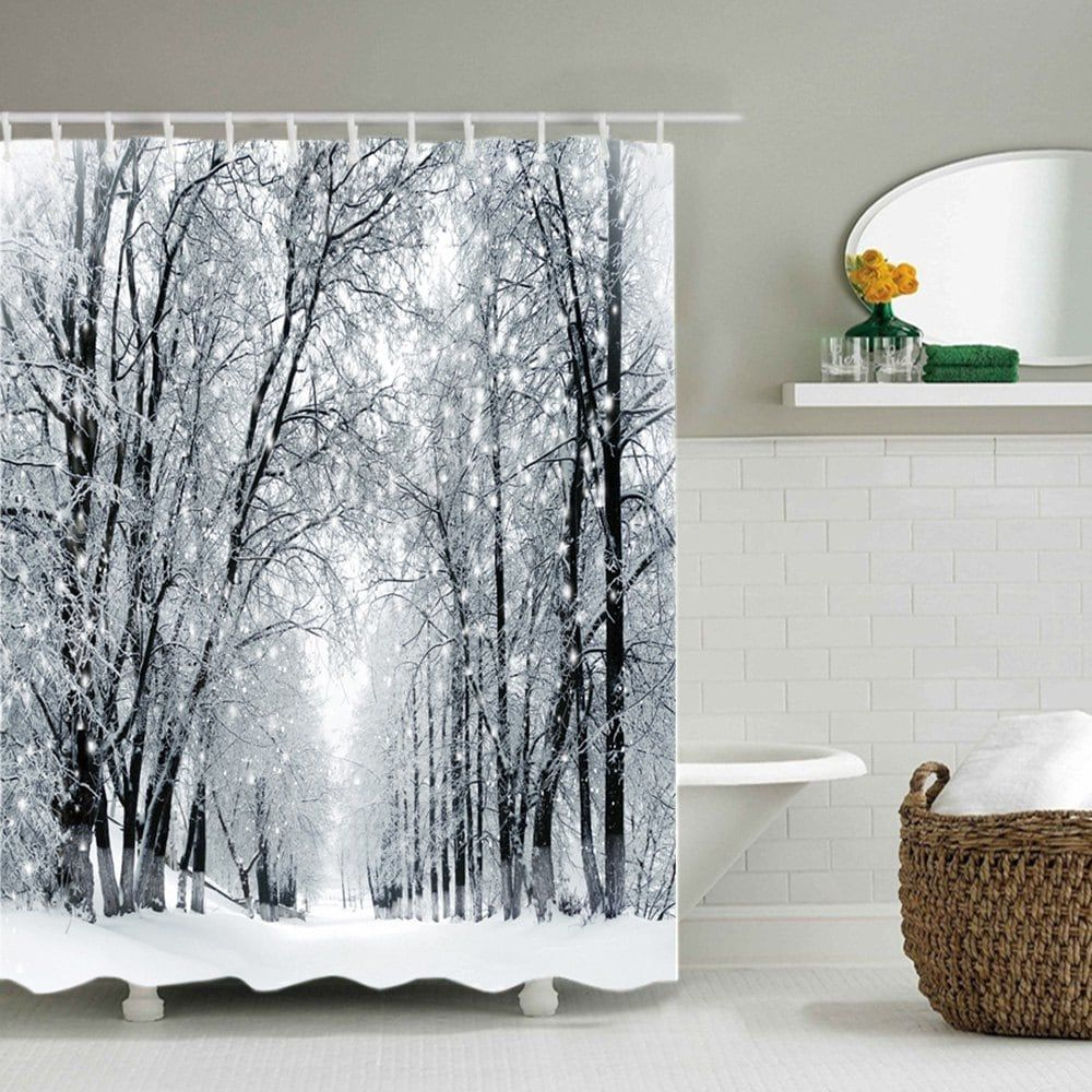 Snowy Forest Path Print Waterproof Bathroom Shower Curtain | Paths ...