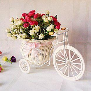 Florero de mimbre con flores artificiales para decorar - Arreglos florales artificiales para casa ...