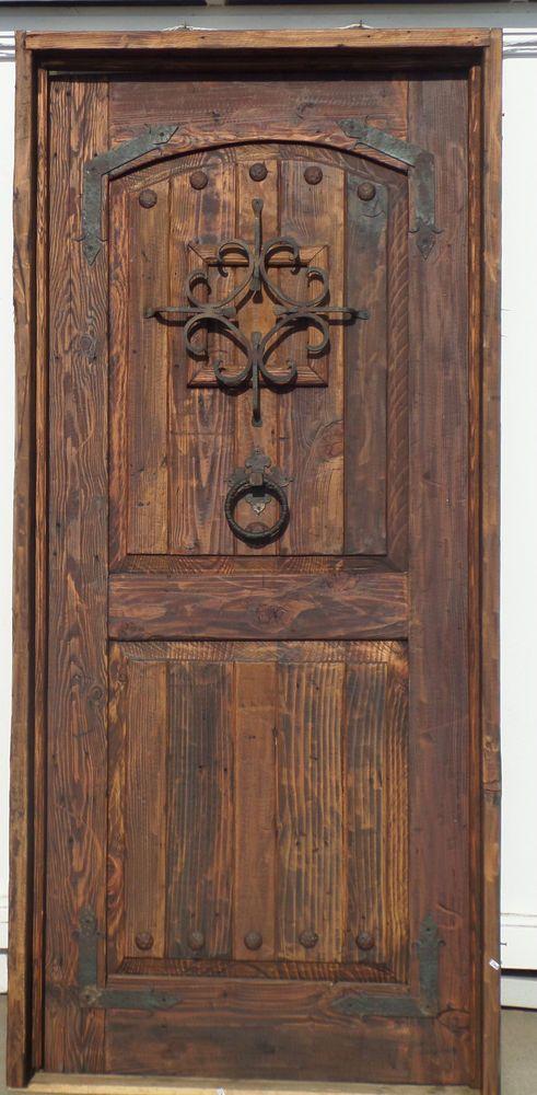Rustic knotty pine DOOR reclaimed lumber EXTERIOR wjamb threshold