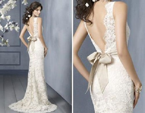 lace-low-back-wedding-dresseslace-low-back-wedding-dress-bow-style ...
