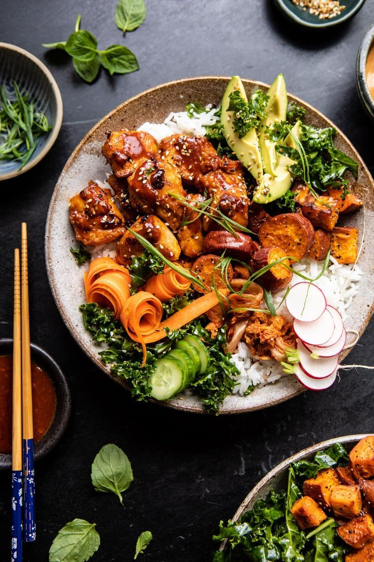Sheet Pan Korean Chicken Bowl with Sweet Potatoes