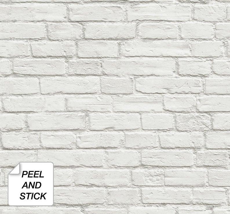 Self Adhesive Wallpaper Brick Peel And Stick White Brick Etsy White Brick Wallpaper White Brick Removable Brick Wallpaper