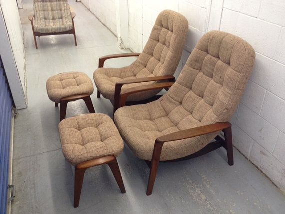 Brilliant Reserved Pair Of Vintage 1960S Scoop Chairs And Ottomans Gmtry Best Dining Table And Chair Ideas Images Gmtryco