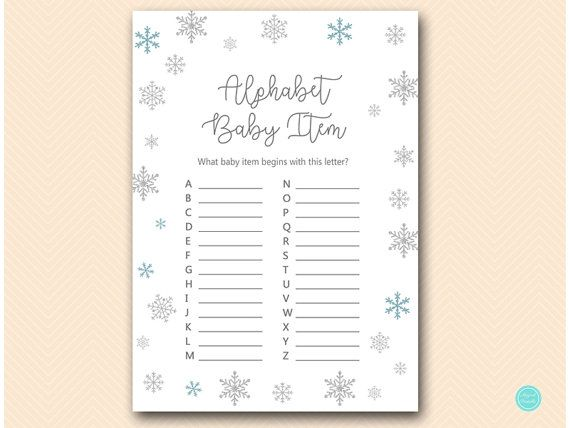 Winter Snow Baby Shower Game Abc Baby Item Game A To Z Baby Item