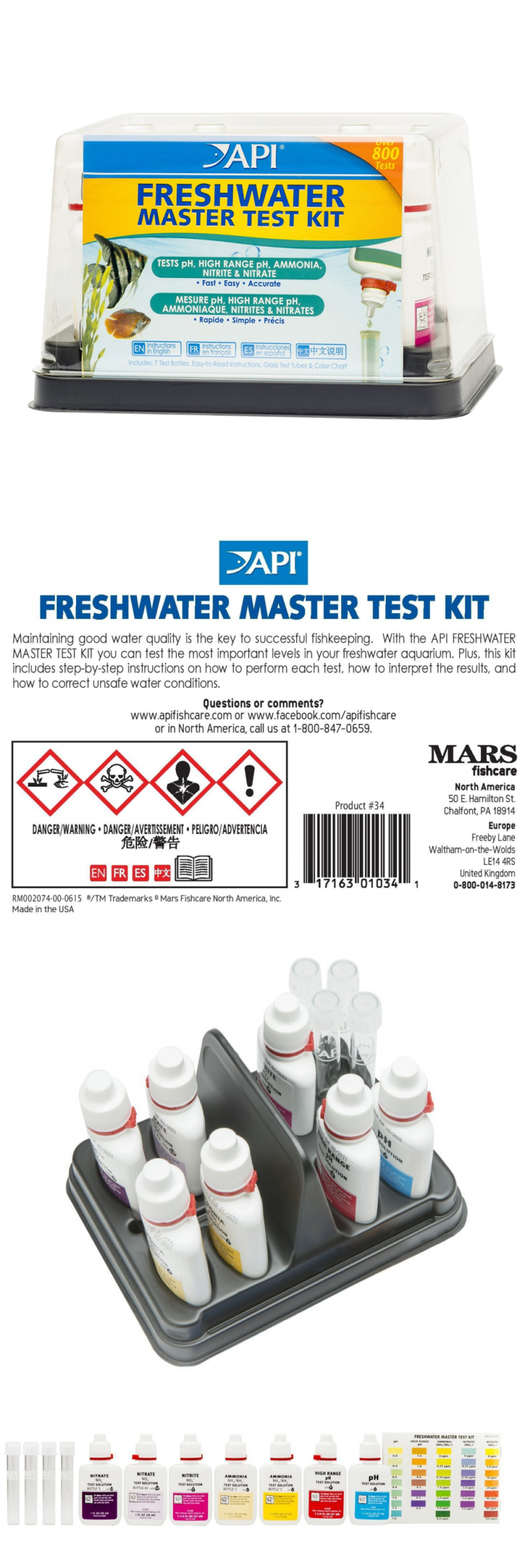 Freshwater aquarium fish high ph - Water Tests And Treatment 77659 Api Freshwater Master Test Kit Aquarium Water Tropical Fish Ph