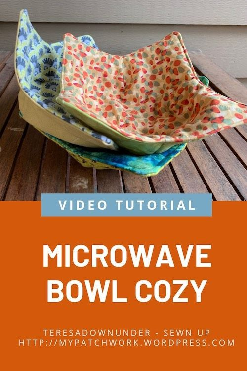 Microwave bowl cozy – video tutorial #sewingcrafts