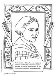 Sarah Breedlove Walker Coloring Pages | People Power Coloring ...