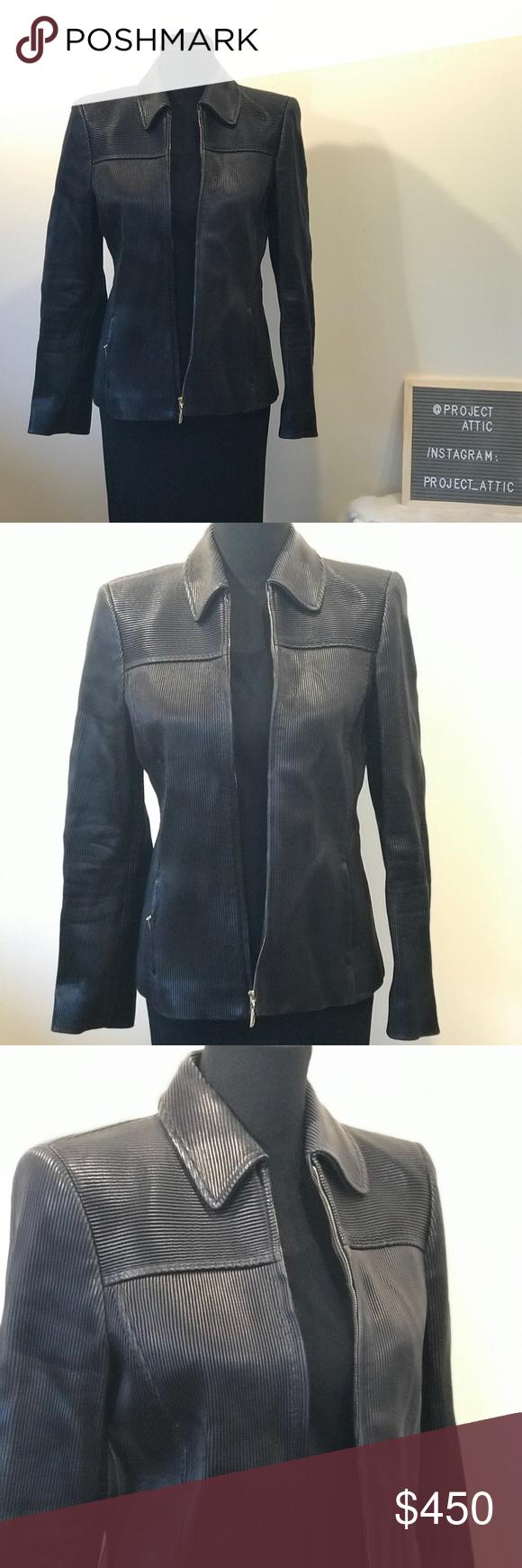 Escada Ribbed Nappa Leather Jacket Black 36 Leather Jacket Black Leather Jacket Jackets [ 1740 x 580 Pixel ]