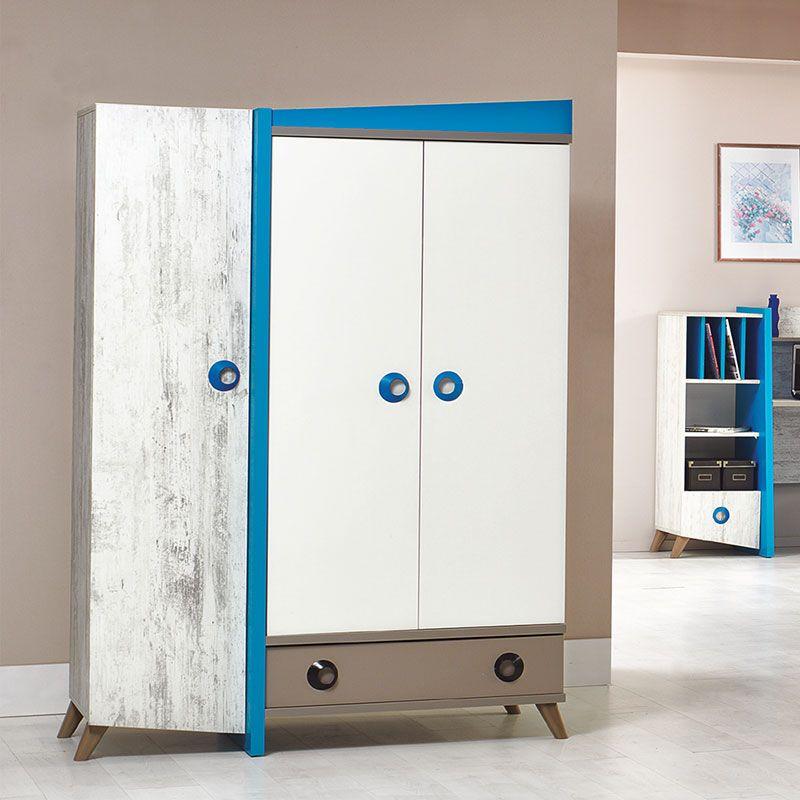 Armoire bleu, blanc et gris moderne CLOVIS Meubles chambre enfant