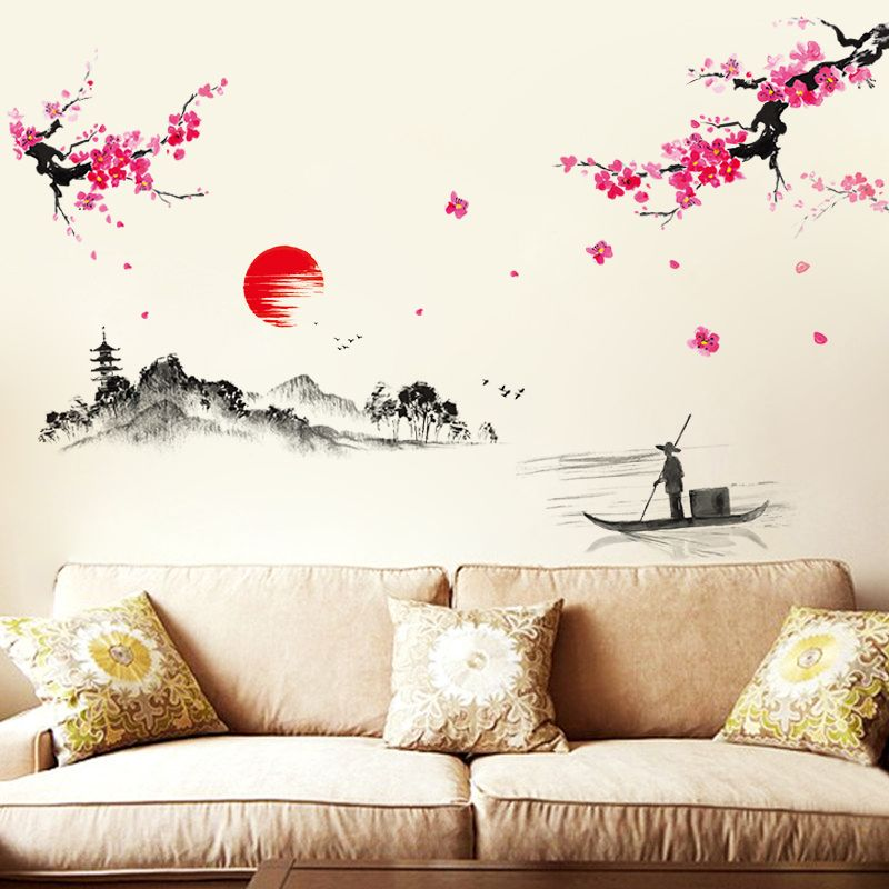 Sunset Hill Chinese Wall Stickers Living Room TV Wall Sofa Background  Chinese Calligraphy Creative Cozy Bedroom Awesome Design