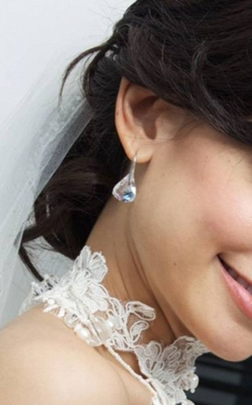 Swarovski Lunar Moonlight Earrings 1046084 Zhannel Water Droplets Crystal Bridal