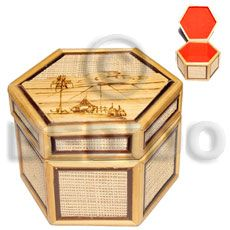 Native Bamboo Raffia Jewelry Box Enlayed Wooden Jewelry Box