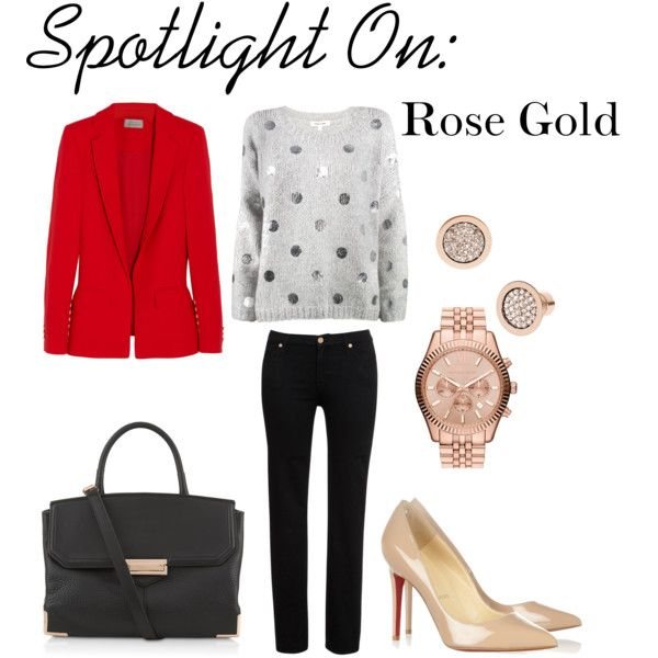 """Spotlight On: Rose Gold"" by marielle80 on Polyvore Ft. Preen, Elizabeth and James, 7 For All Mankind, Michael Kors, Christian Louboutin, Alexander Wang"