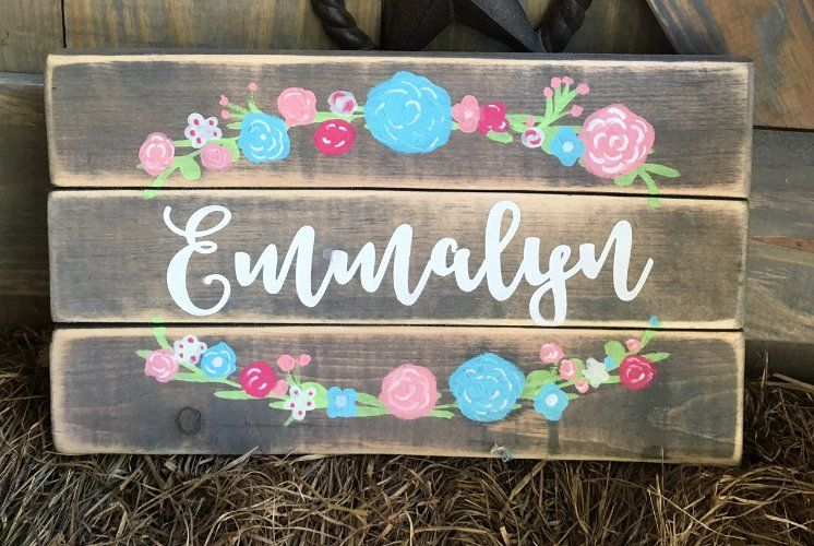 Rustic Floral Custom Girl Name Sign For Nursery
