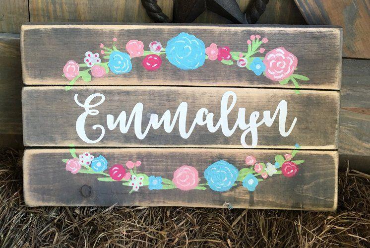 Rustic Floral Custom Girl Name Sign For Nursery