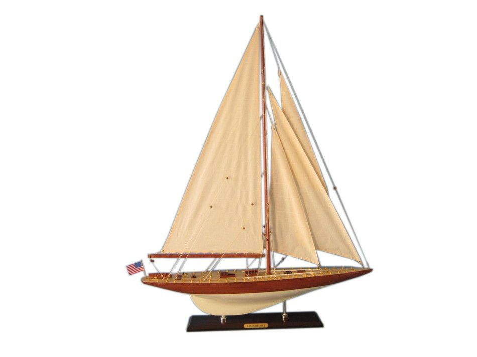 "Wooden Lionheart Limited Model Sailboat Decoration 35"""