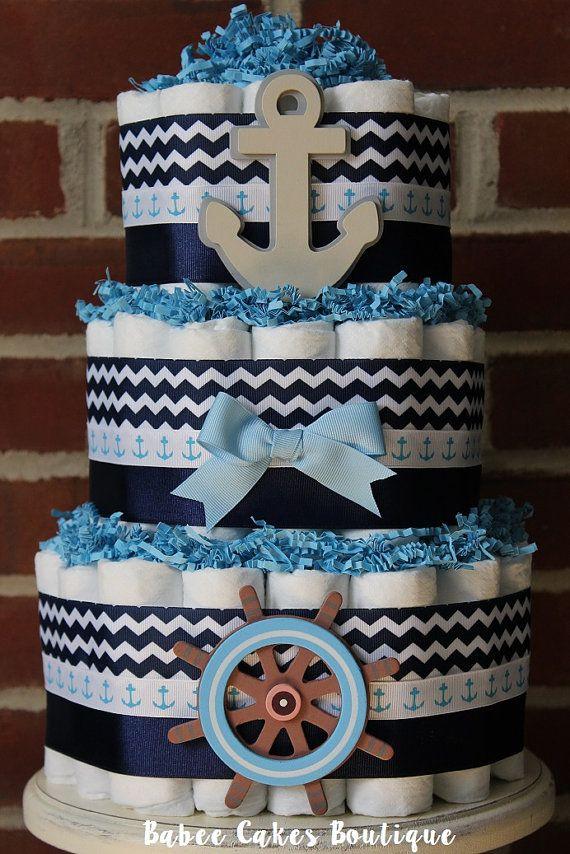 3 Tier Nautical Diaper Cake Ahoy It S A Boy Baby Shower Nautical