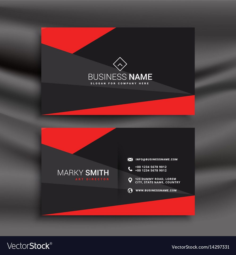 black and red business card template with polygonal shapes. Download ...