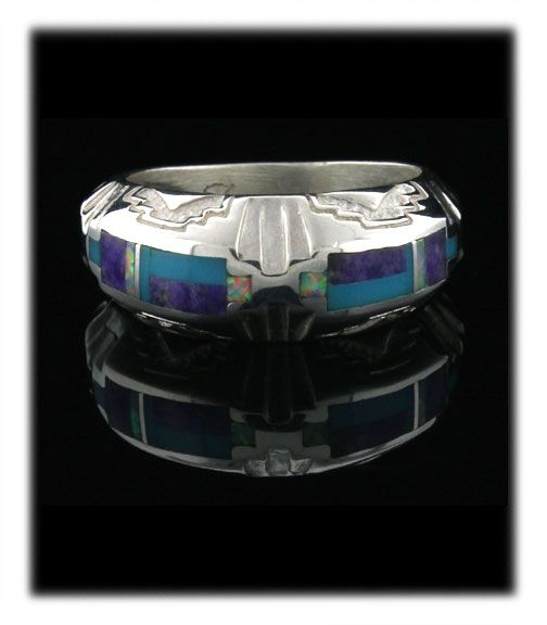 Southwestern Inlay Band Ring with high grade natural Sugilte, Opal and Sleeping Beauty Turquoise from Arizona