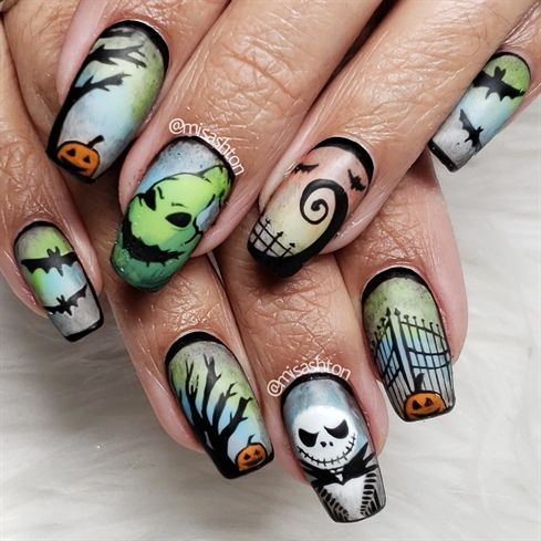 Photo of Nightmare Before Christmas Nails by MisAshton from Nail Art Gallery