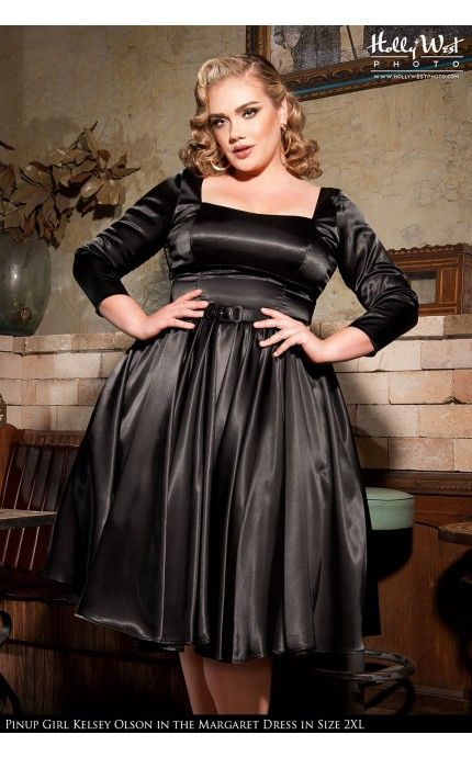 Pinup Couture Margaret Dress In Black Satin Plus Size Pinup