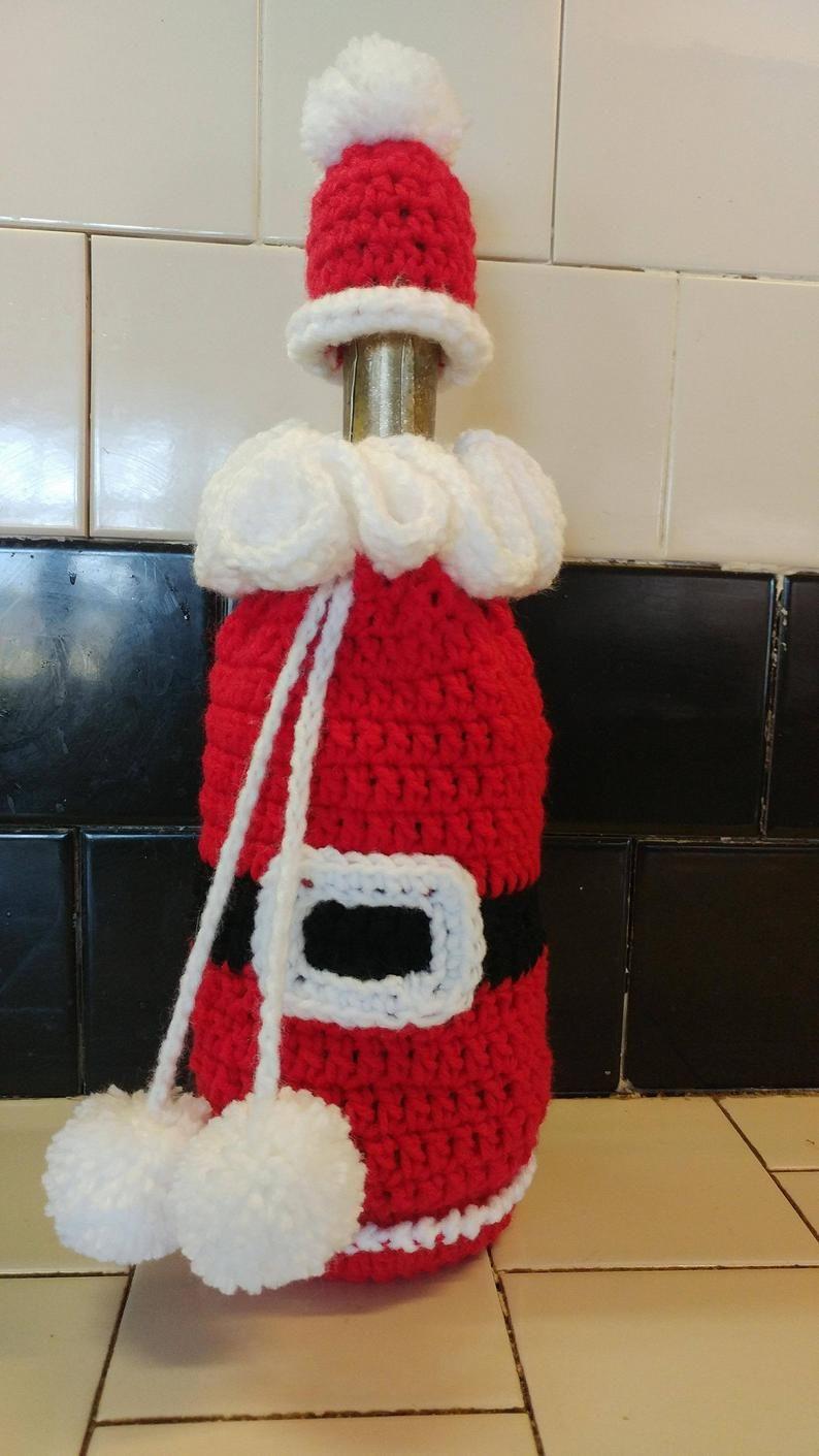 Crochet Santa Vino Botella Cubierta Holder Etsy In 2020 Crochet Santa Christmas Crochet Christmas Crochet Patterns