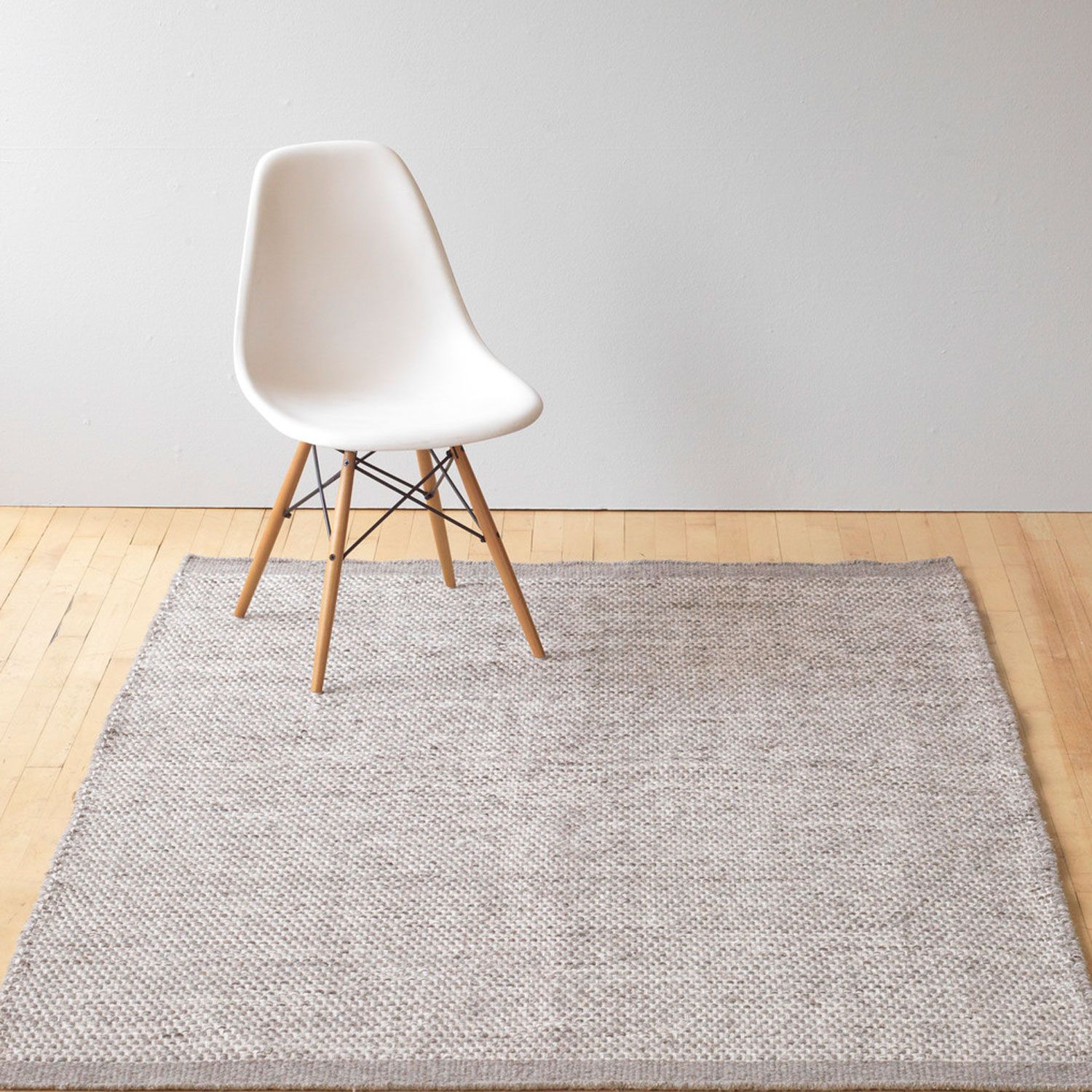 Asko Light Grey Natural Wool Rug Plain Rugs Living Room