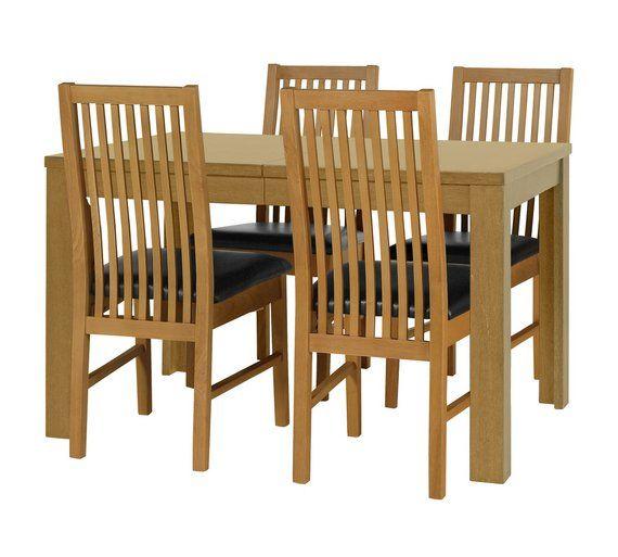 Buy HOME Penley Pentley Oak Ext Table 4 Paris Chairs Choc At Argos