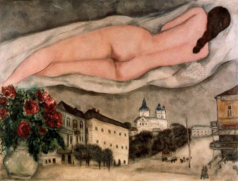 Nude over Vitebsk (Le nu au-dessus de Vitebsk) by Marc Chagall • 1933 • oil on canvas • Dallas Museum of Art