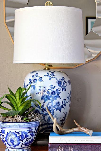 Vintage Blue And White Ethan Allen Lamps Blue And White Lamp White Lamp Ginger Jar Lamp