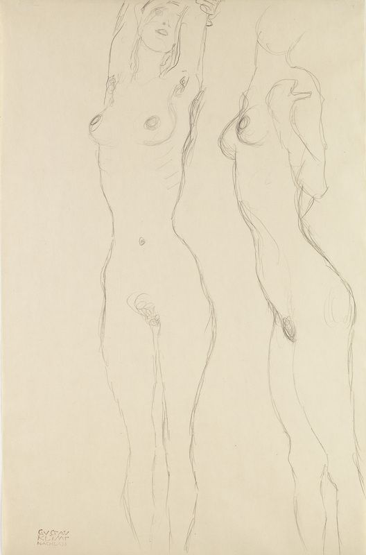 Gustav Klimt - Two Nudes, One with arms raised, 1916/17 © Leopold Museum, Wien,