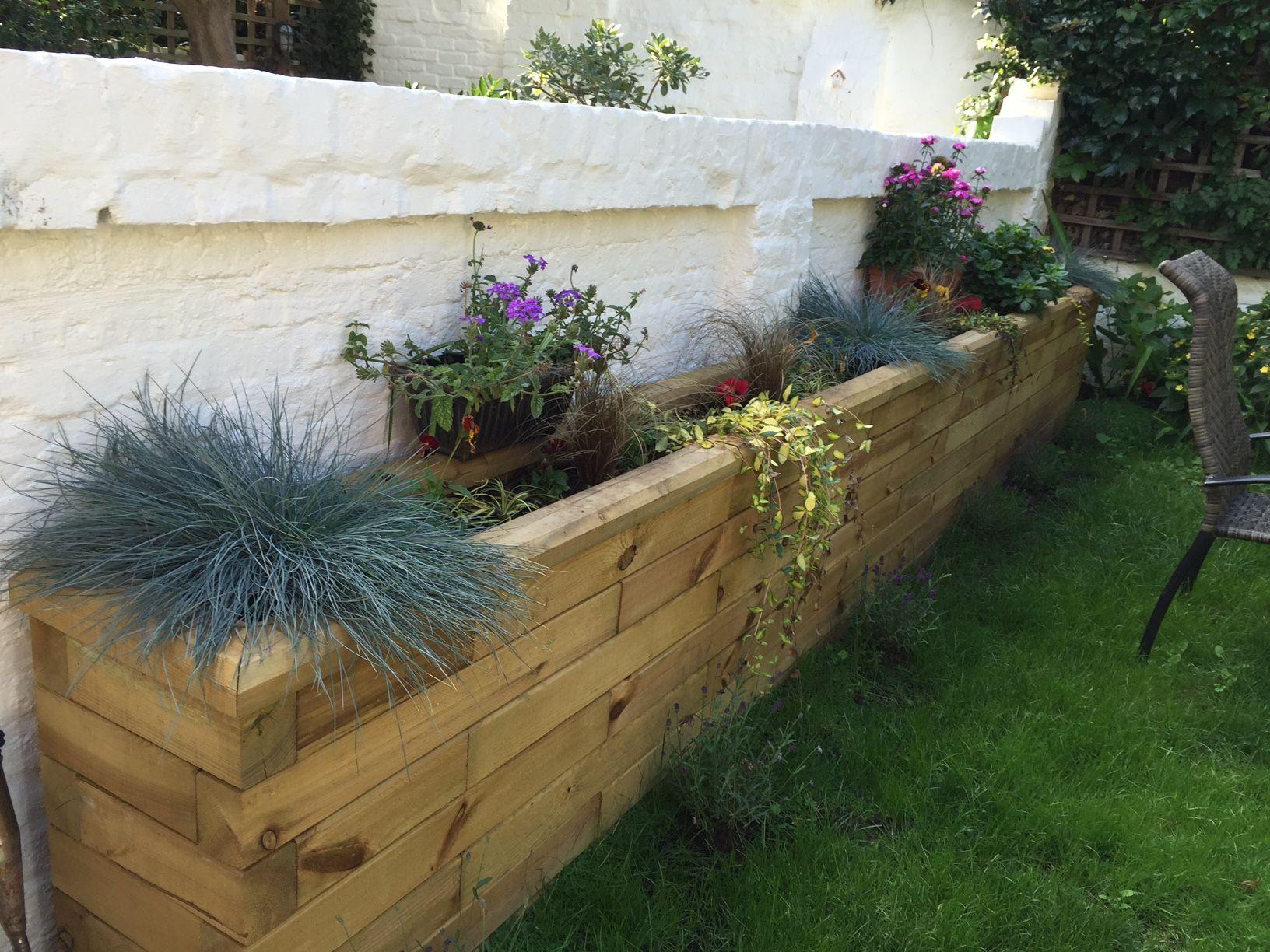 WoodBlocX Wooden Raised Planter Garden retaining wall