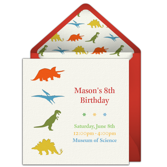Customizable Free Dinosaur Party Online Invitations Easy To Personalize And Send For A Punchbowl
