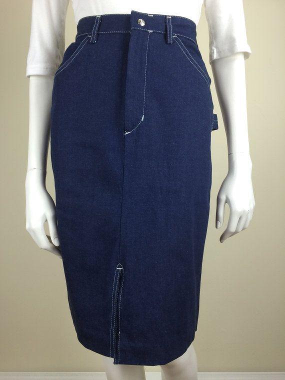 779b73b7ed Denim carpenter pocket pencil skirt 70s | denim skirts and dresses ...