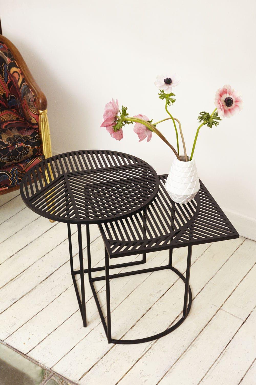 beistelltisch modern aus stahl rechteckig iso b. Black Bedroom Furniture Sets. Home Design Ideas