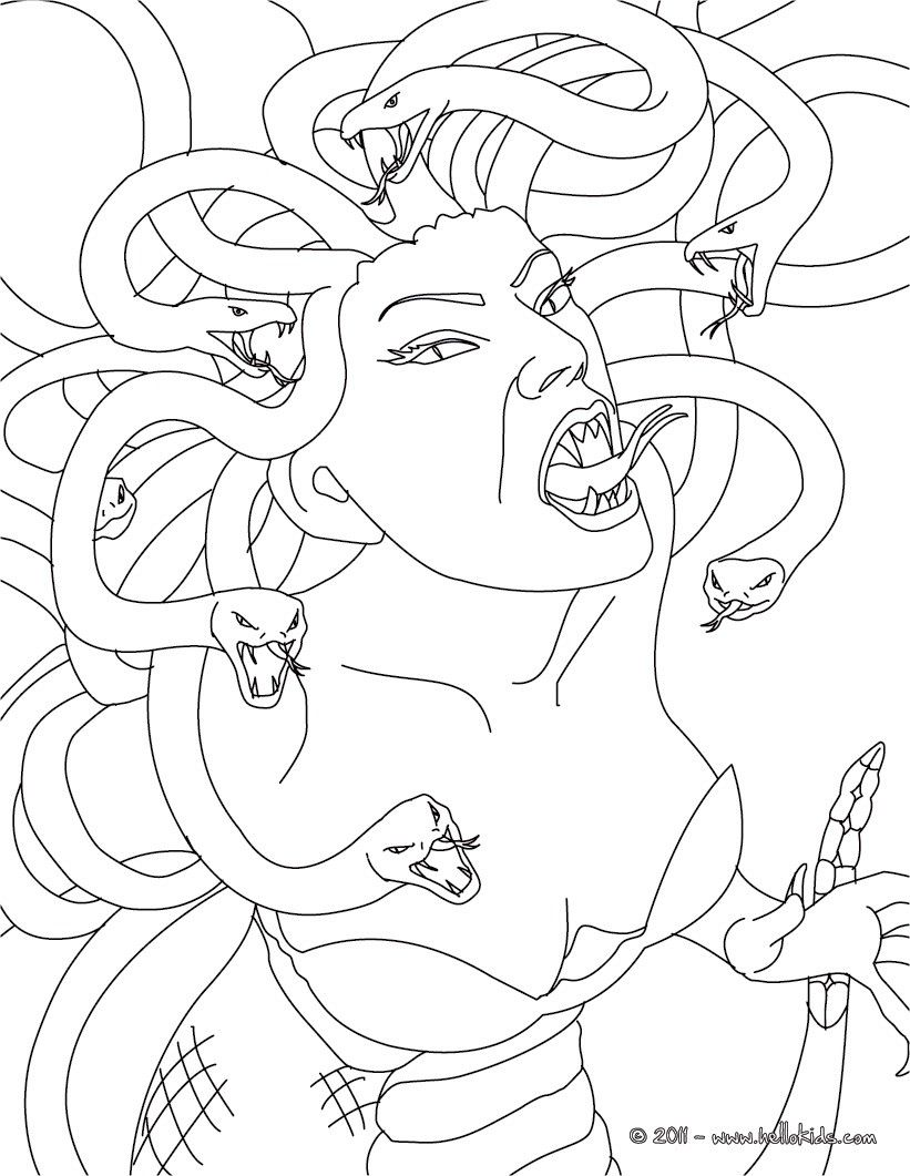 Greek Fabulous Creatures And Monsters Coloring Pages Medusa The Gorgon With Snake Hair Monster Coloring Pages Snake Coloring Pages Coloring Pages