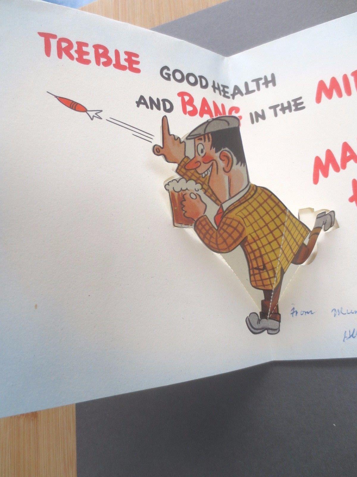 Vintage BIRTHDAY Card Darts Beer Drinking Man Pop Up Figure 1960s