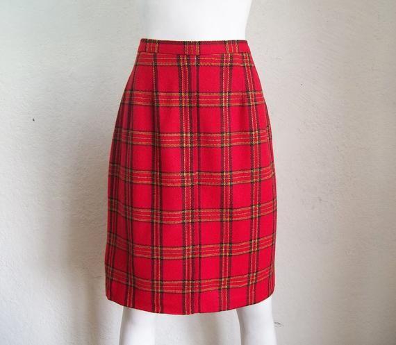 f921f4fc3596 Vintage 80s Michelle Punk Plaid High Waist Secretary Pencil Skirt Sz 10 W28  $30.00 FREE SHIP